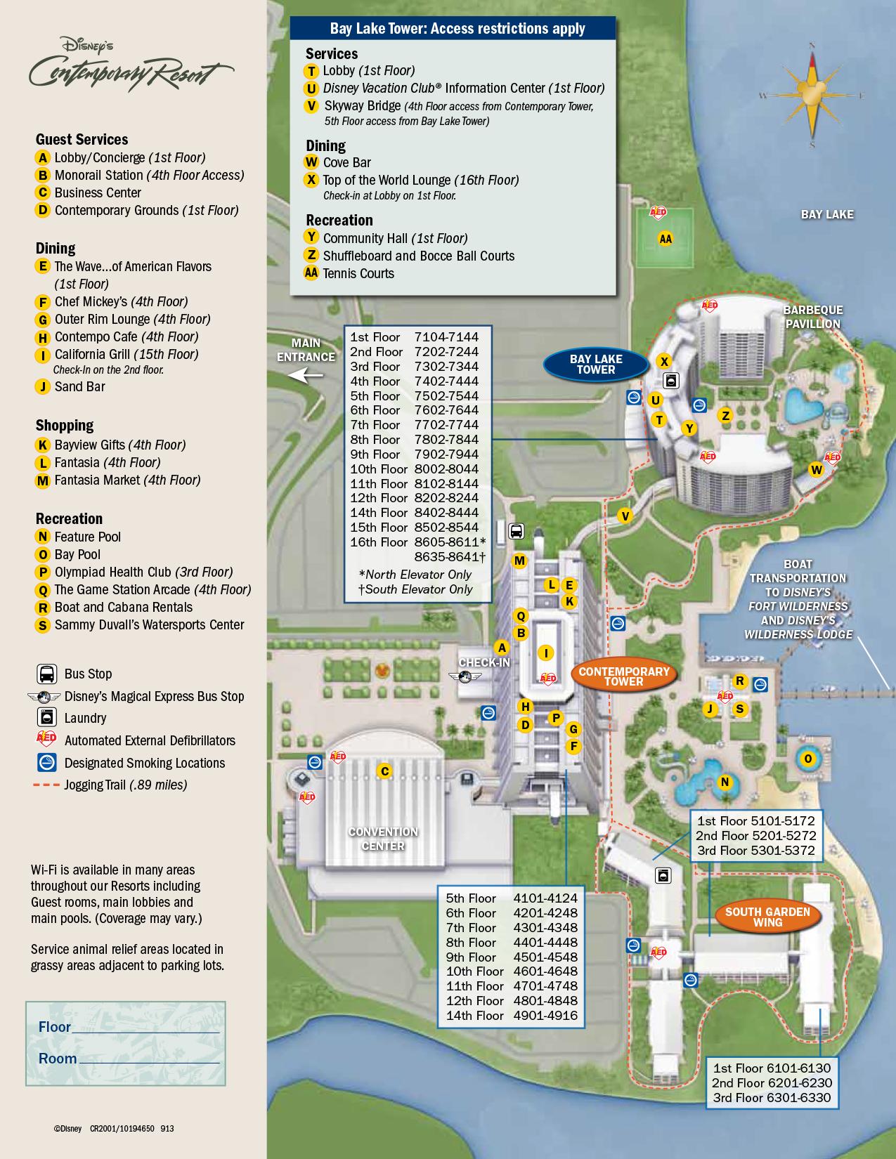Contemporary Resort Map Walt Disney World