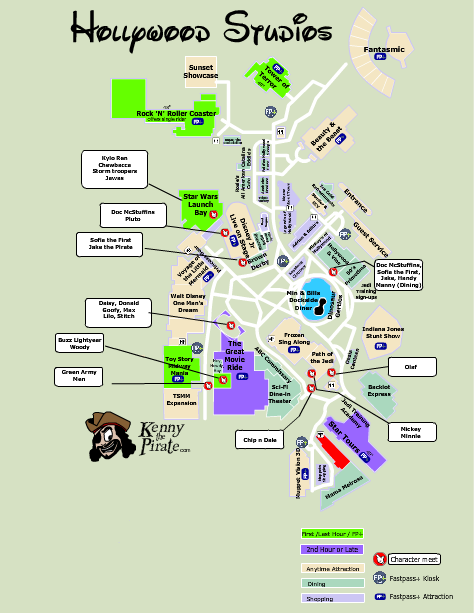Hollywood Studios Character Location Map KennythePirate