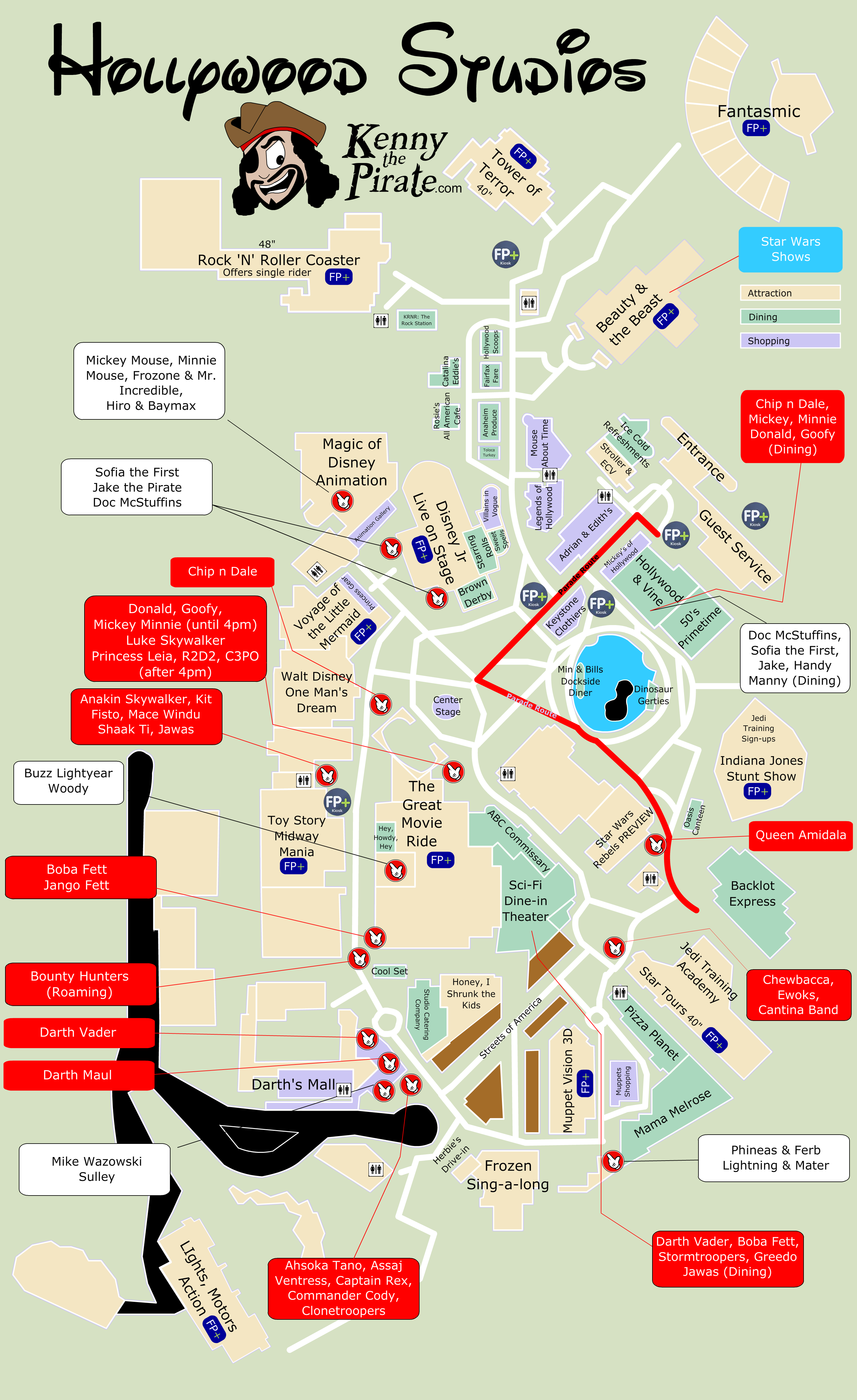 Star Wars Weekends Map with Character Locations